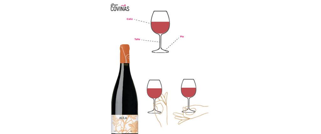 cómo se coge una copa de vino